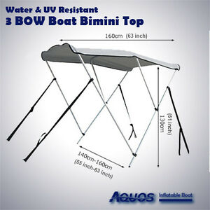 NEW-amp-Longer-3-Bow-Deluxe-Sun-Canopy-Bimini-Top-Suit-11-to-14-Foot-Boat
