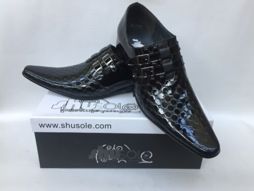 Brand New Boxed Men/'s Black Patent Quilted Slip On Formal//Suit Shoes UK 6s 11s