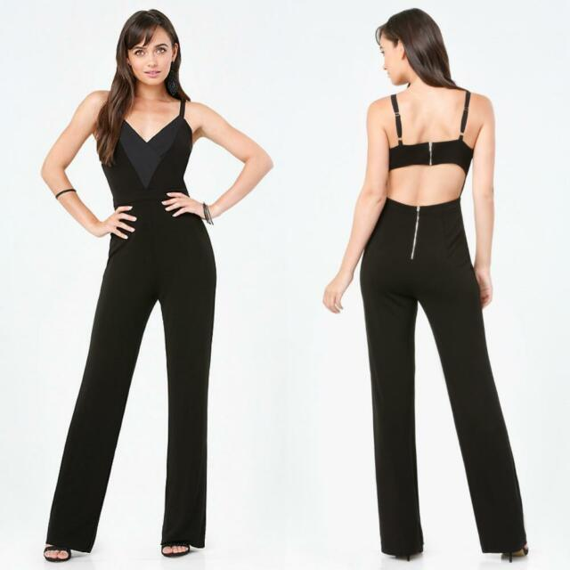 BEBE BLACK DEEP V BACK CUTOUT ROMPER JUMPSUIT NEW NWT $169 MEDIUM M LARGE L 10