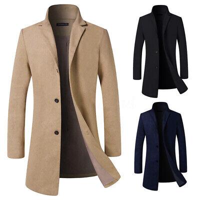 Men/'s Wool Fleece Coat Winter Warm Trench Coat Outwear Overcoat Long Jacket UK