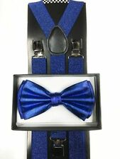 Blue Charming Metallic Bow Tie & Suspender Wedding Party Apparel Accessories