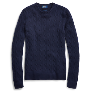 Women/'s Polo Ralph Lauren Navy Cable Knit Cashmere Sweater New $398
