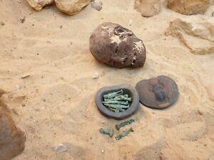 Rare Antique égyptienne ancienne Boîte à bijoux + 13 dieux protection des amulettes 2480 avant Jésus-Christ