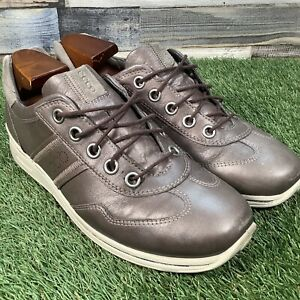 UK8-Ecco-Casual-Comfort-Metallic-Copper-Leather-Trainers-Flat-Designer-EU41