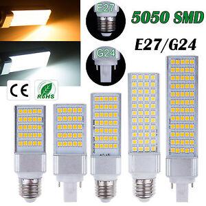 5050SMD-5W-7W-9W-11W-13W-LED-Lugar-Maiz-Horizontal-Plug-Ligero-Downlight-E27-G24