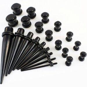 23-Taper-Stretcher-Ear-Plugs-Expander-Gauges-Acrylic-Stretching-Kits-Set-Black