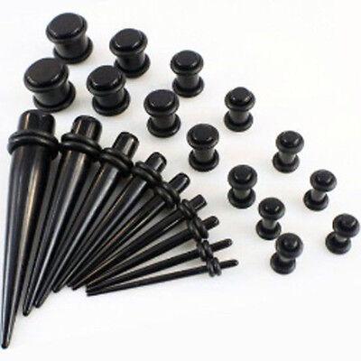 Taper Stretcher Ear Plugs Expander Gauges Acrylic Stretching Kits Set Black