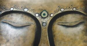 Holy-Buddha-Oil-Painting-40x16-NOT-a-poster-framing-available-Buddhist-Monk