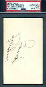 Brooks Robinson PSA DNA Coa Autograph Hand Signed 3x5 Index Card