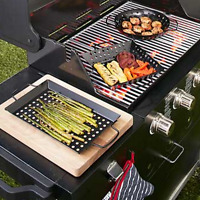 Grill Accessories Charcoal Gas Bbq Vegetable Fish Topper Baskets Nonstick Steel