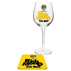 Richmond-Tigers-AFL-Wine-Champagne-Drink-Glass-amp-Cork-Coaster-Anniversary-Gift