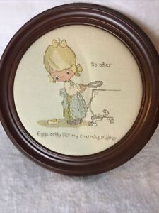 """Vintage Round Framed Completed Cross Stitch Cooking Mother 13"""" Handcrafted Wood"""