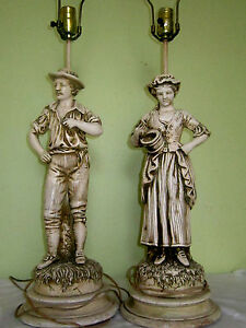 Vintage Pair Large Table Lamps Chalkware 3 Way Light