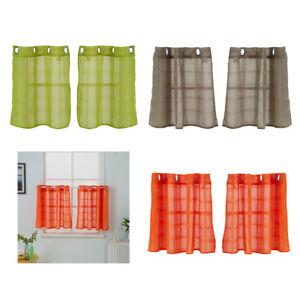 Details zu 2 xScheibengardine Küchengardine kleine Fenster Volant Vorhang  für Küche Bad