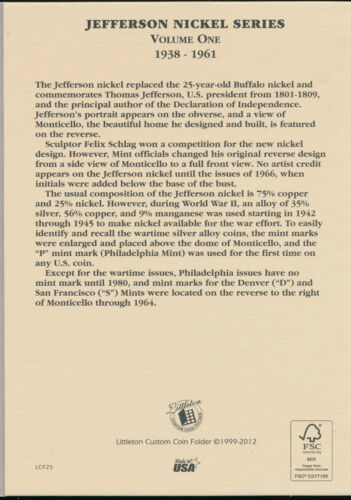 Littleton Coin Folder LCF25 #1 Jefferson Nickel 1938-1961