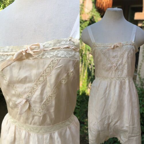 Vintage 1920's Pink Silk And Lace Step-In Chemise