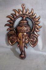 Lord Ganesha Statue Wall Hanging Copper Plated Ganesh Elephant God Hindu Metal