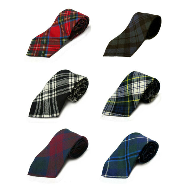 Mens All Wool Tie Woven And Made in Scotland in Maple Leaf Canadian Tartan