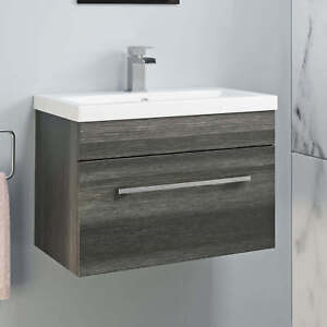 Details About 600mm Bathroom Wall Hung Vanity Unit Basin Storage Cabinet Furniture Grey Modern