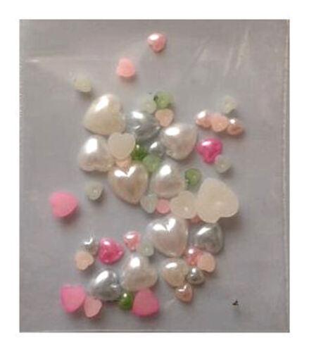 Assorted Pearl Heart Embellishments x 20 10mm 3mm 8mm 5mm