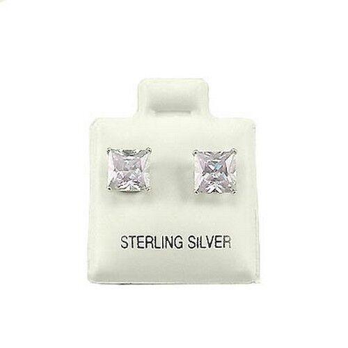 6mm Square Alexandrite CZ Stud Earrings SE249 Sterling Silver