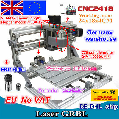 3 Axis 2418 DIY Mini USB CNC Router Laser Engraving Milling Machine&ER11 Collet