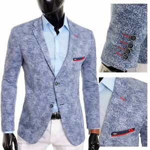 cfa837b0185b Men's Navy Blue Blazer Jacket Casual Spotted Slim Fit Summer Red ...