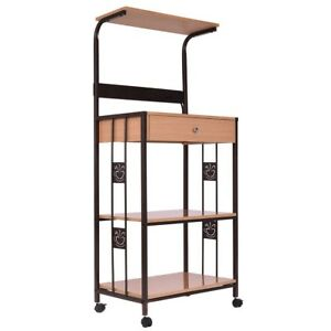 Details About Kitchen 3 Tiers Iron Frame Rolling Cart Microwave Oven Stand W Outlet Storage