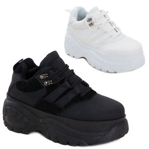 Scarpe Eco Pelle Flatform Zeppa Doppio Sneakers Sportive Donna Alte rXxYqa6wrT