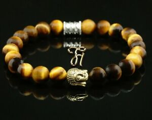 Tigerauge-braun-glaenzend-Armband-Bracelet-Perlenarmband-Buddhakopf-gold-8mm