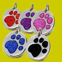 Pet ID Tag, Quality LARGE 32mm Reflective Glitter Dog Paw Tags, ENGRAVED OPTIONS
