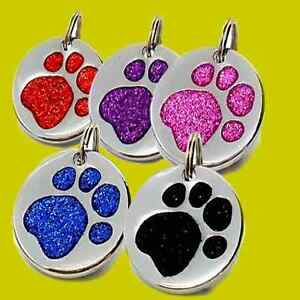 Dog-ID-Tag-Quality-LARGE-32mm-Reflective-Glitter-Dog-Paw-Pet-TAGS-ENGRAVE-OPTION