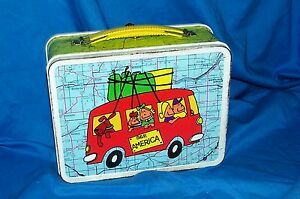 c4ac6703d993 Details about Vintage Ohio Art See America Metal Lunchbox Old Kid's School  Lunch Box Pail