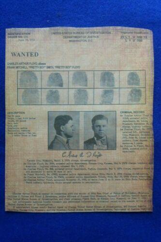PRETTY BOY FLOYD WANTED POSTER MOB MAFIA BOOTLEGGER GANGSTER BANK ROBBER OUTLAW