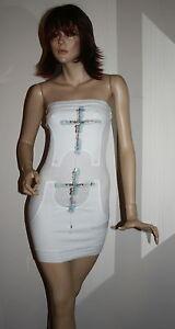 89031f4ea1 Dettagli su Vestito Donna Miniabito Senza Spalline fascia Corto Abito  Bianco xs 38