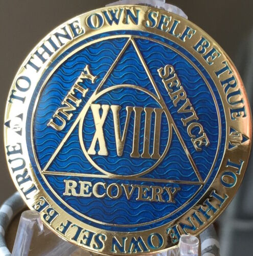 18 Year AA Medallion Blue Gold Plated Alcoholics Anonymous Sobriety Chip Coin