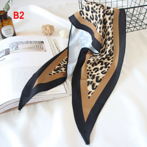 Head-Neck Tie Bags Tie Handkerchief Leopard Print Silk Feel Satin Small Scarf