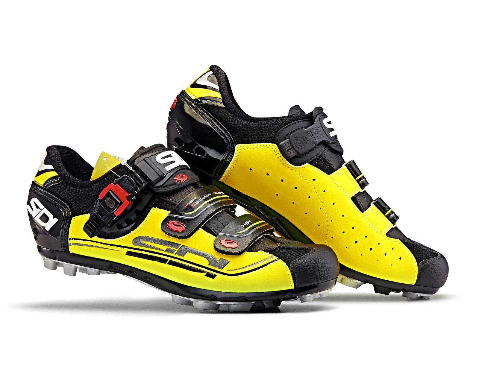 SIDI Eagle 7 Calzado para Ciclismo Bicicleta de montaña-Negro Amarillo Negro