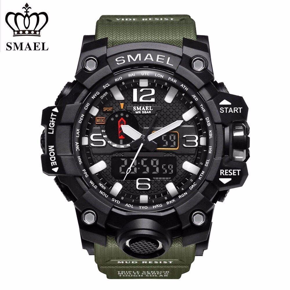 Smael Men S Military Sport Wrist Watch Quartz Dual Movement With Analog Digital Ebay