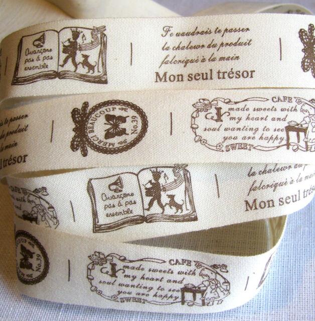 RUBAN TOILE IMPRIMÉE 100% COTON ** 25 mm ** Étiquette Tendresse Passion / mètre