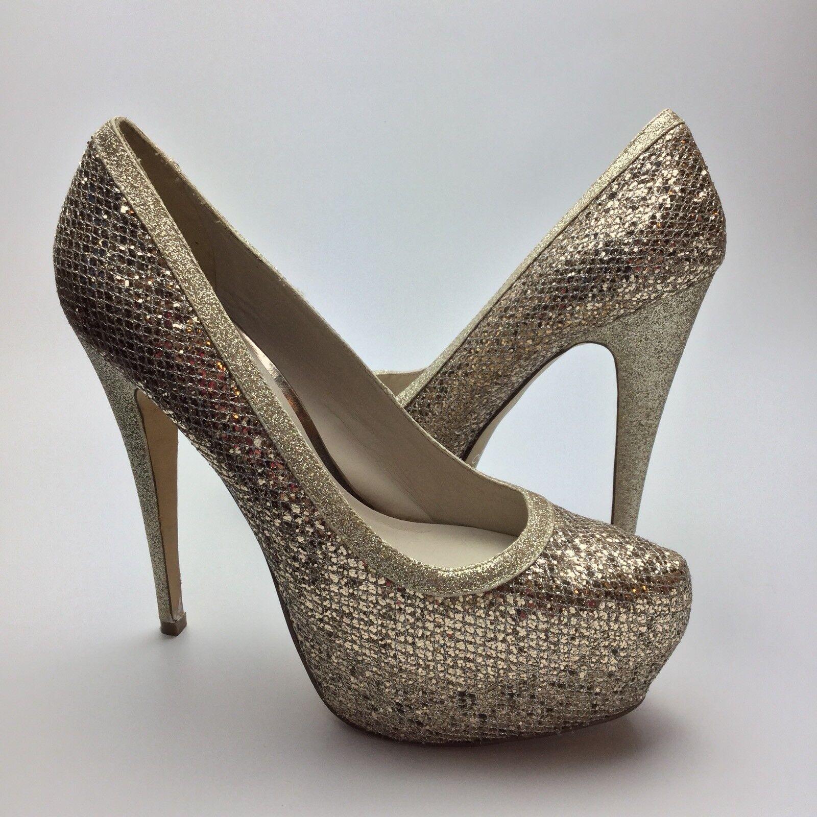 Aldo Platform Pumps Größe 9 Gold Glitter Sparkle Almond Toe High Heel Stilettos