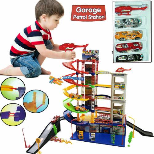 6 nivel de aparcamiento moderno AUTO PARKING GARAJE gasolinera niños juego conjunto de juguete