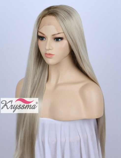 Ombre Blonde Long Straight Synthetic Lace Front Wigs For White Women Dart  Roots 383a9d4f8d