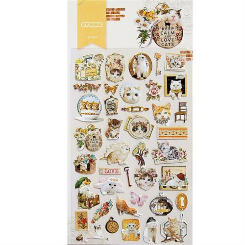 1 Sheet Cartoon Cat Fruit Transparent PVC Sticker Scrapbook Mobile Stickers DIY