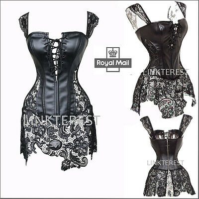 Sexy Black Boned Corset Waist Training steampunk Gothic Basques Dress Bustier LK