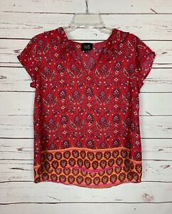W5-Anthropologie-Women-039-s-M-Medium-Red-Floral-Short-Sleeve-Cute-Top-Blouse-Shirt