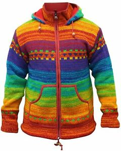 Mens-High-Neck-Rainbow-Winter-Flecce-Lined-Hippie-Jacket-Colorful-Jumper