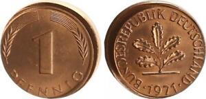 Frg 1 Pfennig 1971 J Lack Coinage: 10% Dezentriert, Mint State