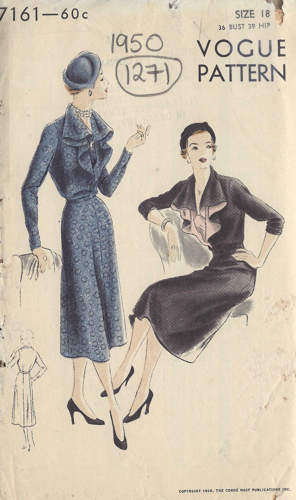 1950 Vintage Vogue-schnittmuster B36 Kleid (1271)   eBay