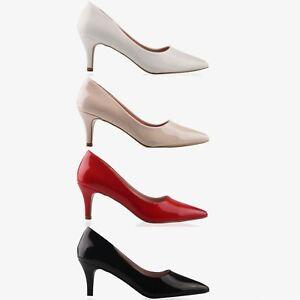 5c2d20919c Women Low Mid Kitten Heels Slip On Patent Court Shoes Ladies Office ...
